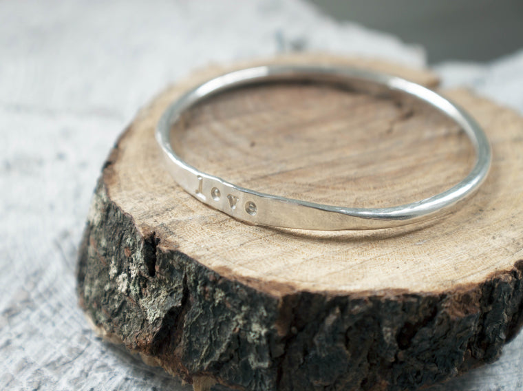 Simply Stated - engraved silver bracelet