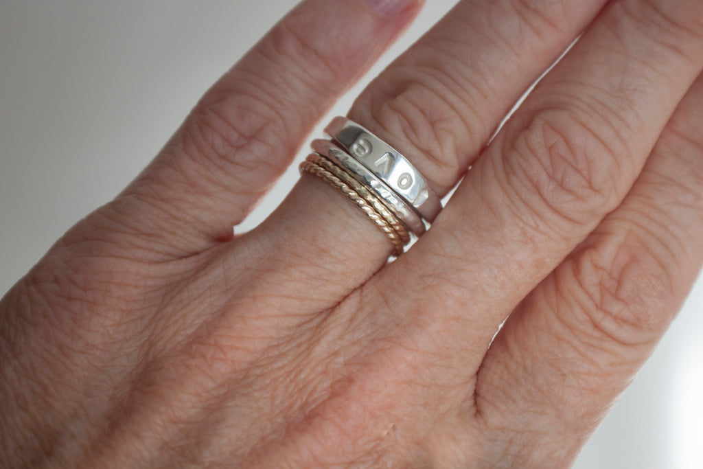 Simple Intention rustic stacking ring.