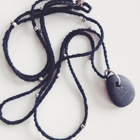 natural beach stone necklace on hand woven cotton cord with Thai silver beads