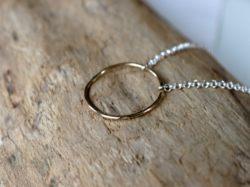 yellow gold open circle necklace by SFDesigns