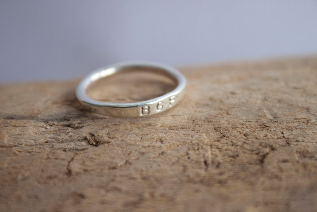 Silver initial stacking ring by SFDesigns.
