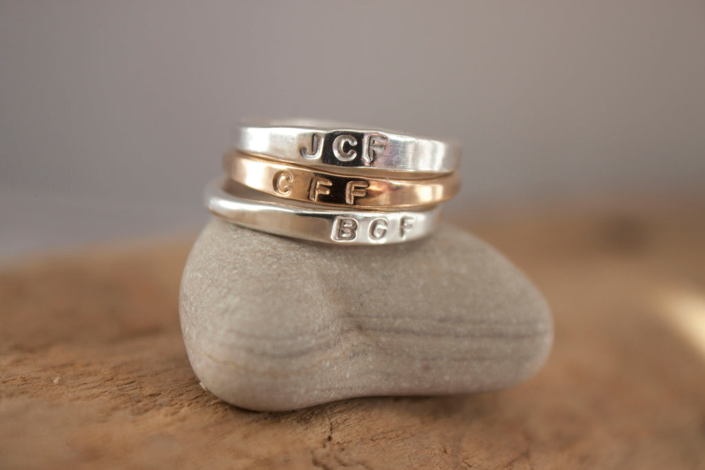 Simple Connection - monogram sterling silver ring