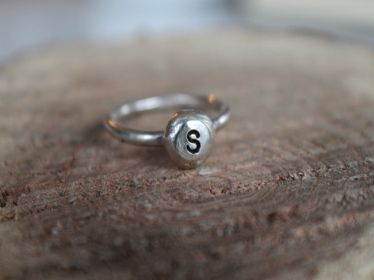 Initial Pebble - personalized initial ring
