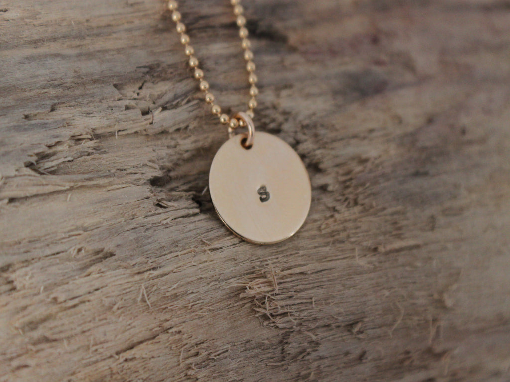 Simple Sunshine - gold handstamped initial pendant