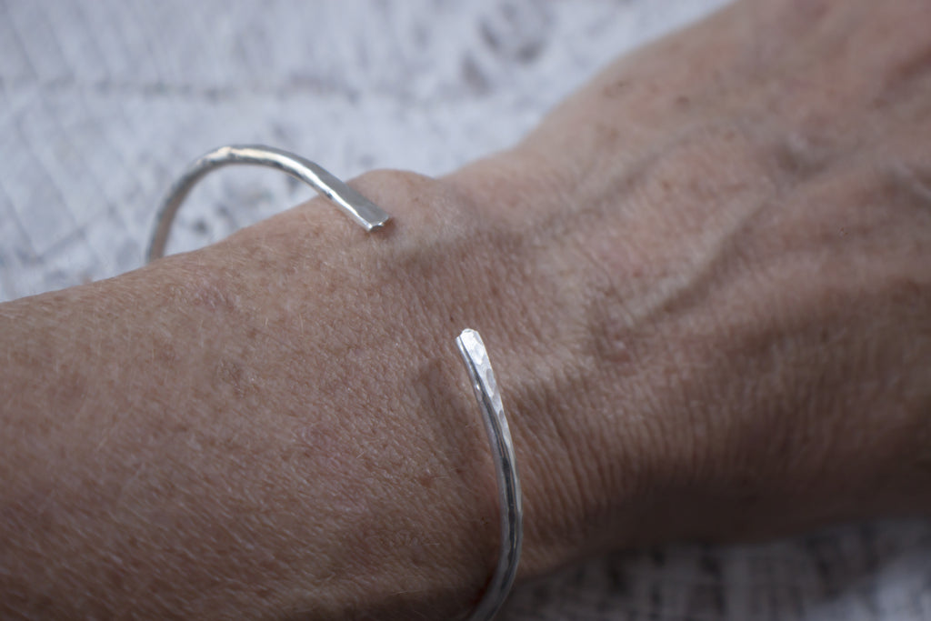 Hammered recycled sterling silver cuff bracelet