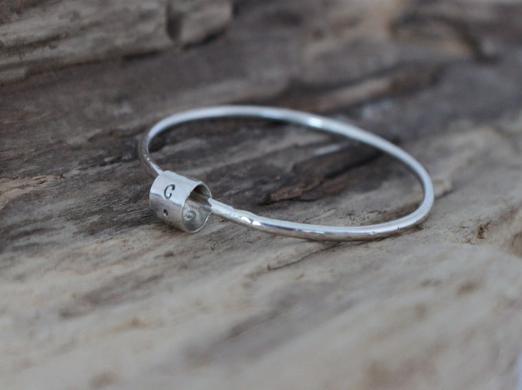 Simply Scrappy - personalized silver initial stacking bangle