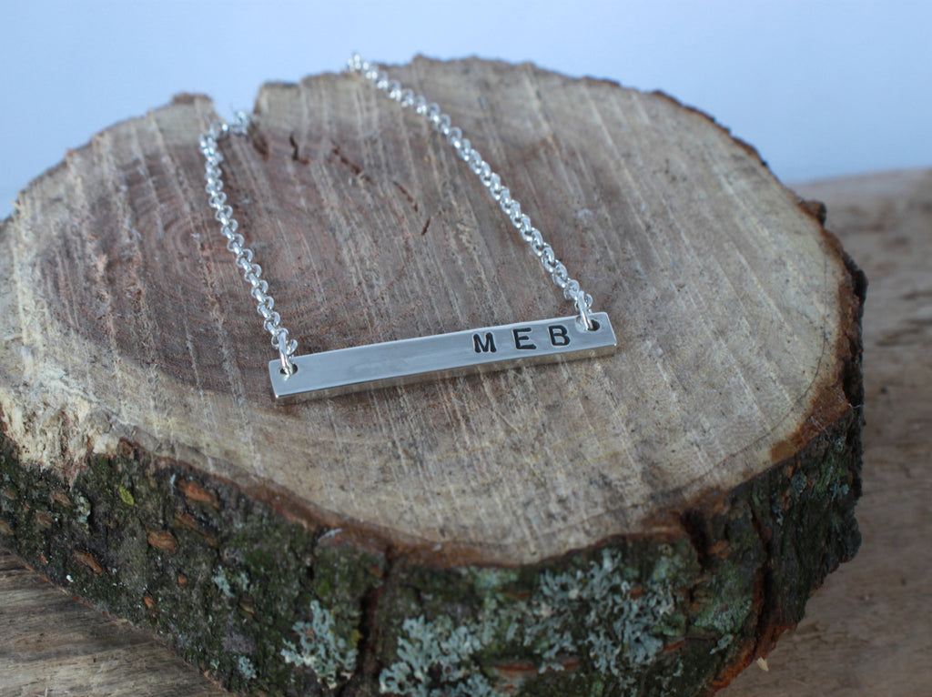 personalized sterling silver bar necklace