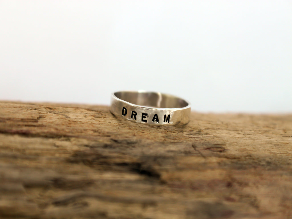Simply Stated - personalized silver narrow ring band
