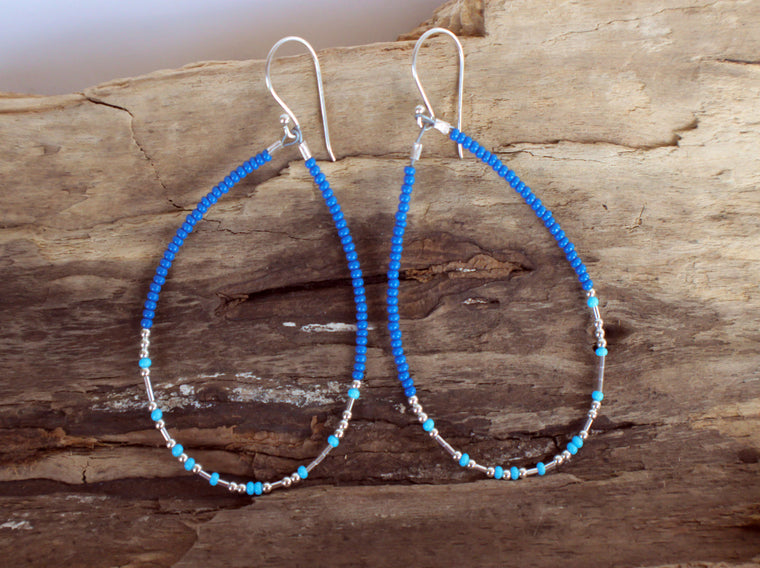 ocean blue see bead and sterling silver morse code dangle earrings by SFDesigns