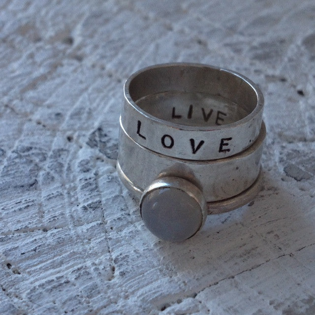 hand stamped love stacking ring with moonstone ring I SFDesigns