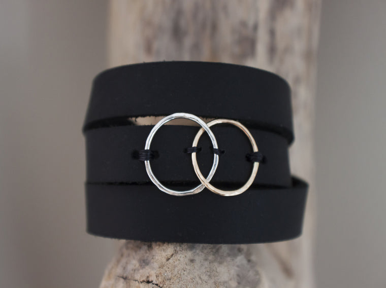Stay Connected  - interlocking circles on leather bracelet