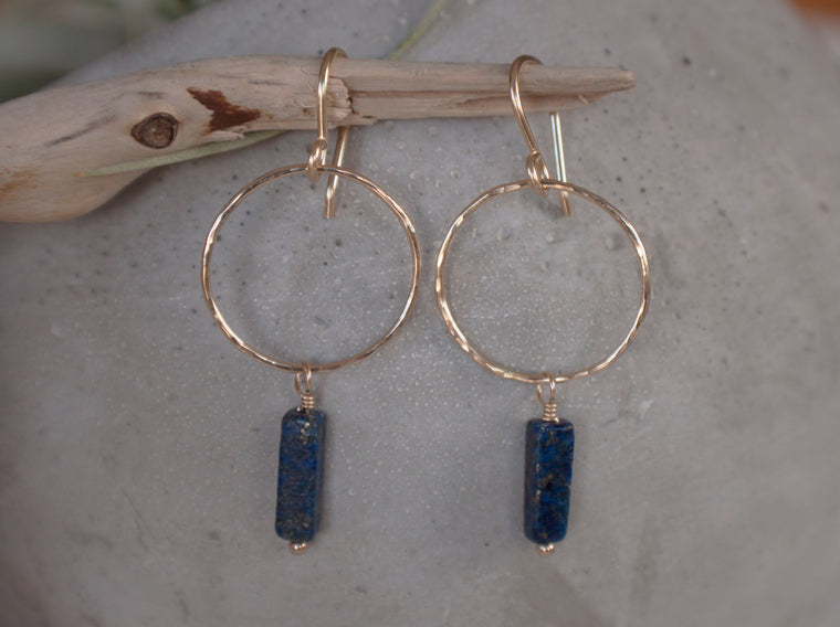 gold circle drop earrings with lapis lazuli stone