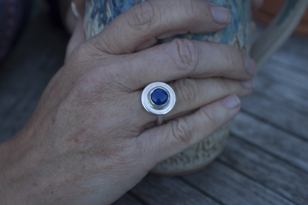 amazonite, lapis lazuli (pictured) or moonstone silver ring