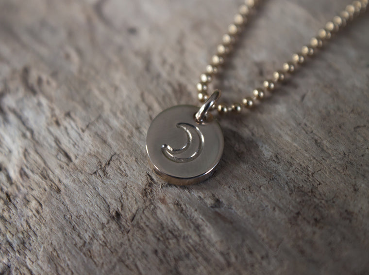 Tiny Talisman - gold crescent moon necklace