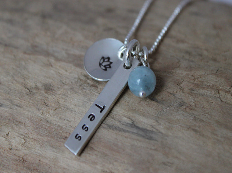 personalized vertical bar pendant by SFDesigns