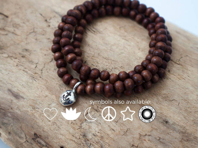 Simple Intention - wooden wrap bracelet with custom silver charm