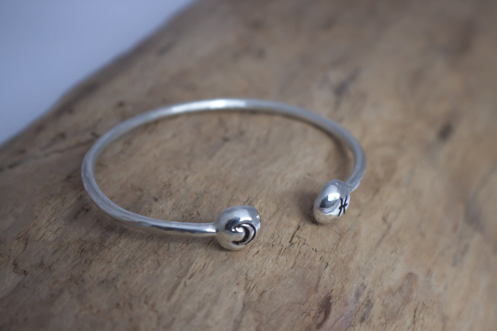 Birth sign and moon sterling silver hand stamped cuff