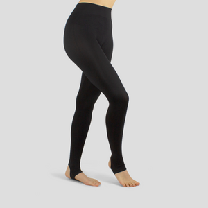black seamless stirrup ankle leggings