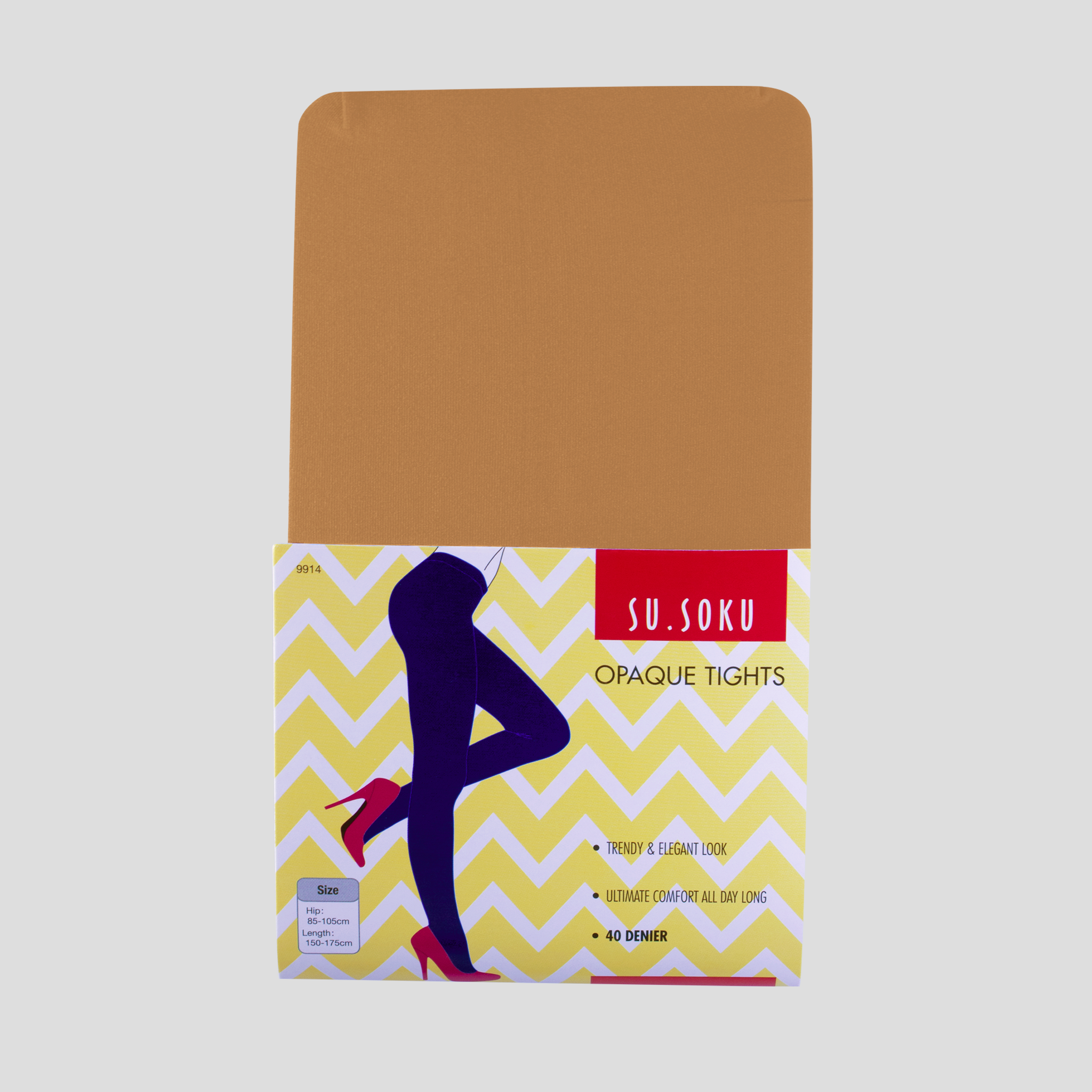 Opaque covered tights packaging, colour skin
