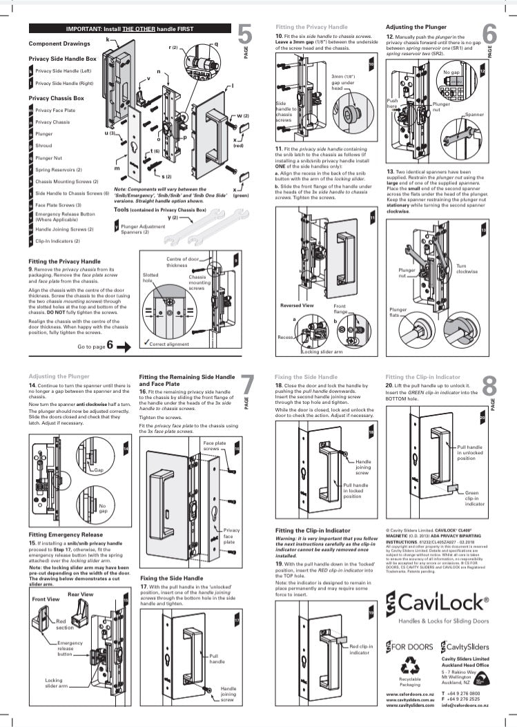 Cavilock CS CL406D ADA - Bi- Parting - Offset Privacy [Magnetic Latching]