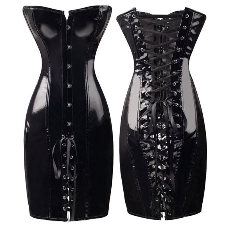 Party Girl BLack Leather Corset Dress