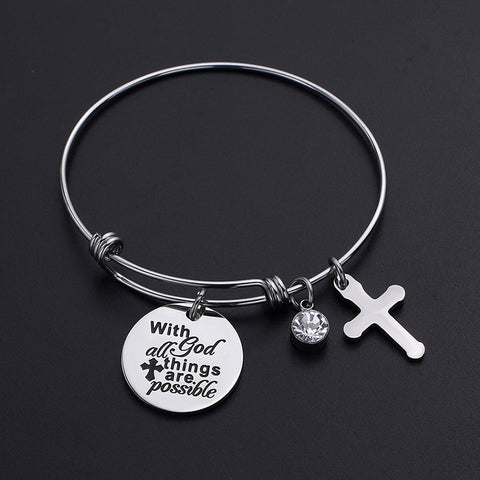 with god all things are possible bangle bracelet