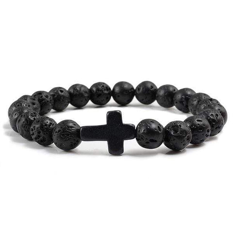 Men's Lava Bead Cross Bracelet
