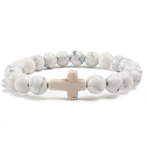 White Bead Cross Bracelet