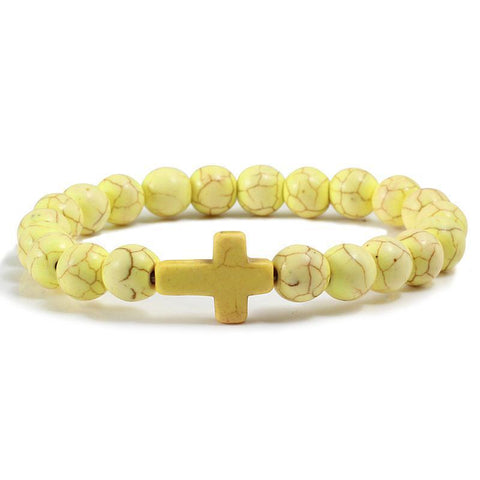 Bead Cross Bracelet yellow