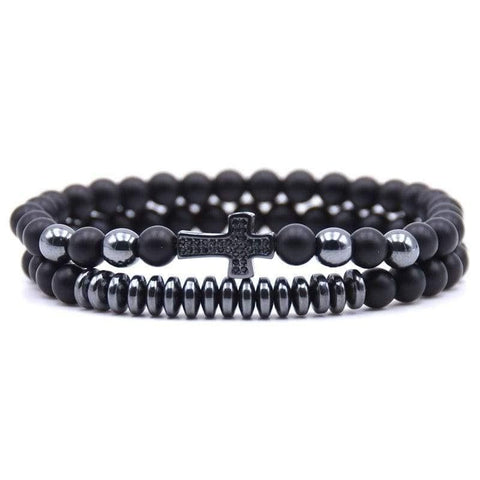 Bead Bracelet With Black Cross