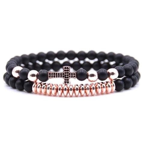 Bead Bracelet With Rose Gold Cross