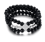 Black Beaded Bracelet With Silver Cross