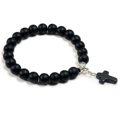 bead bracelet with cross charm black