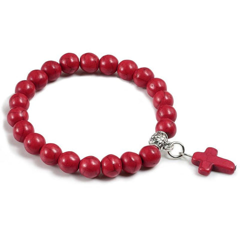 bead bracelet with cross charm red