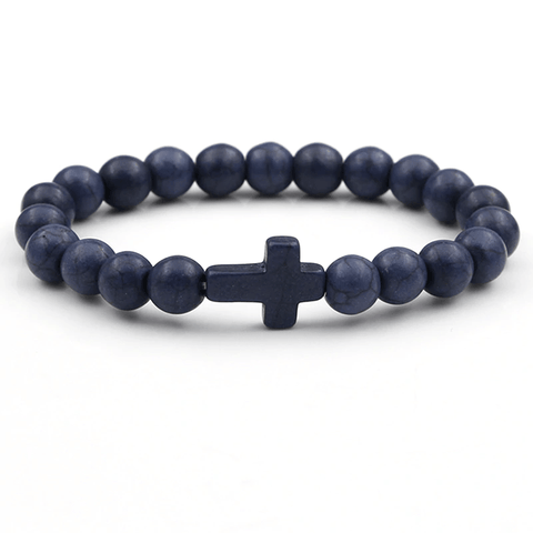 Dark Blue Cross Beads