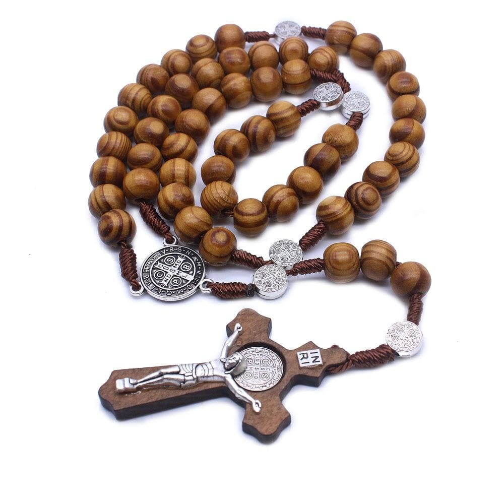 crucifix necklace wooden beads