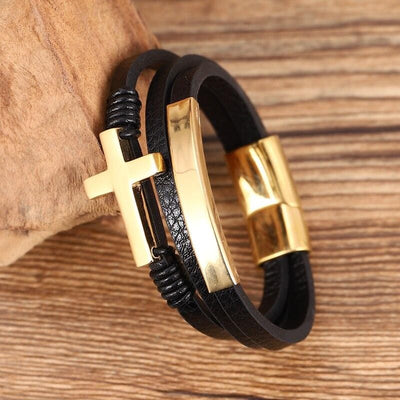 Men's Leather Cuff Bracelet with Cross Gold