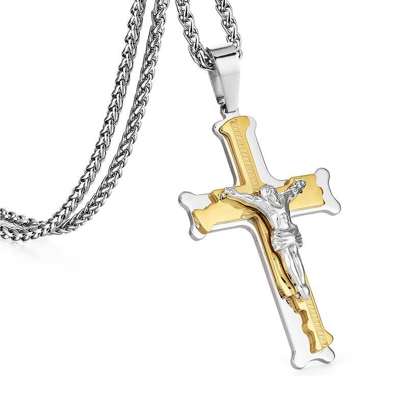 Men's Christian Necklace <br> Crucifix (Steel Gold)