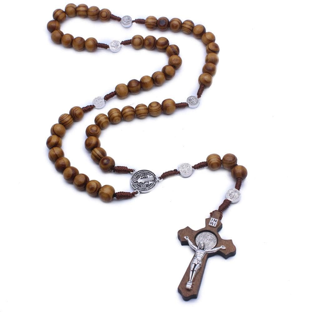 crucifix necklace wooden