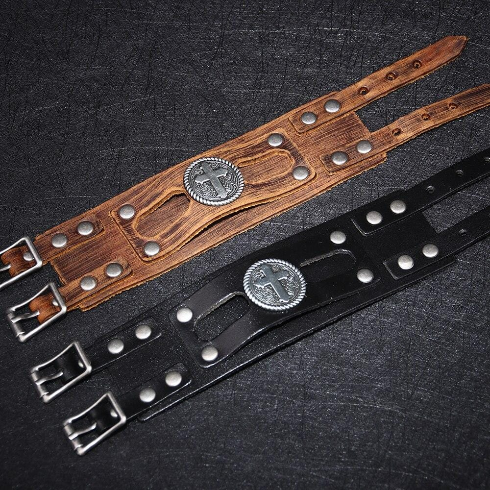 wide cross bracelets with leather