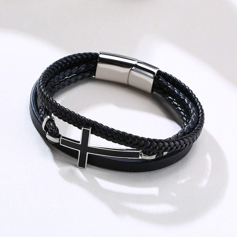 cross bracelet leather band stainless steel