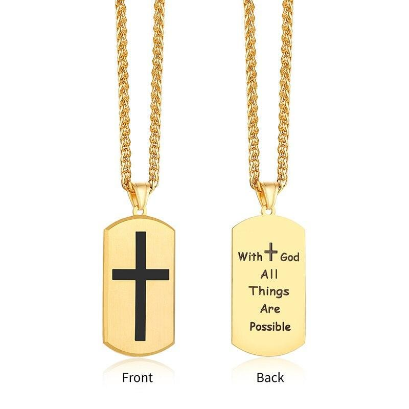 with god all things are possible necklace gold