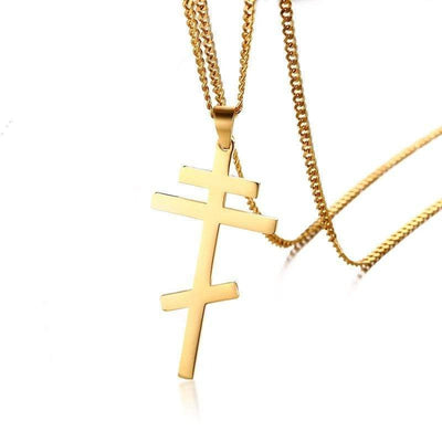 mens orthodox cross necklace gold