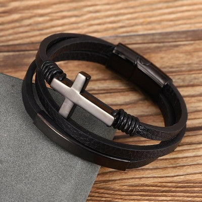 Leather Cuff Bracelet with Cross christian