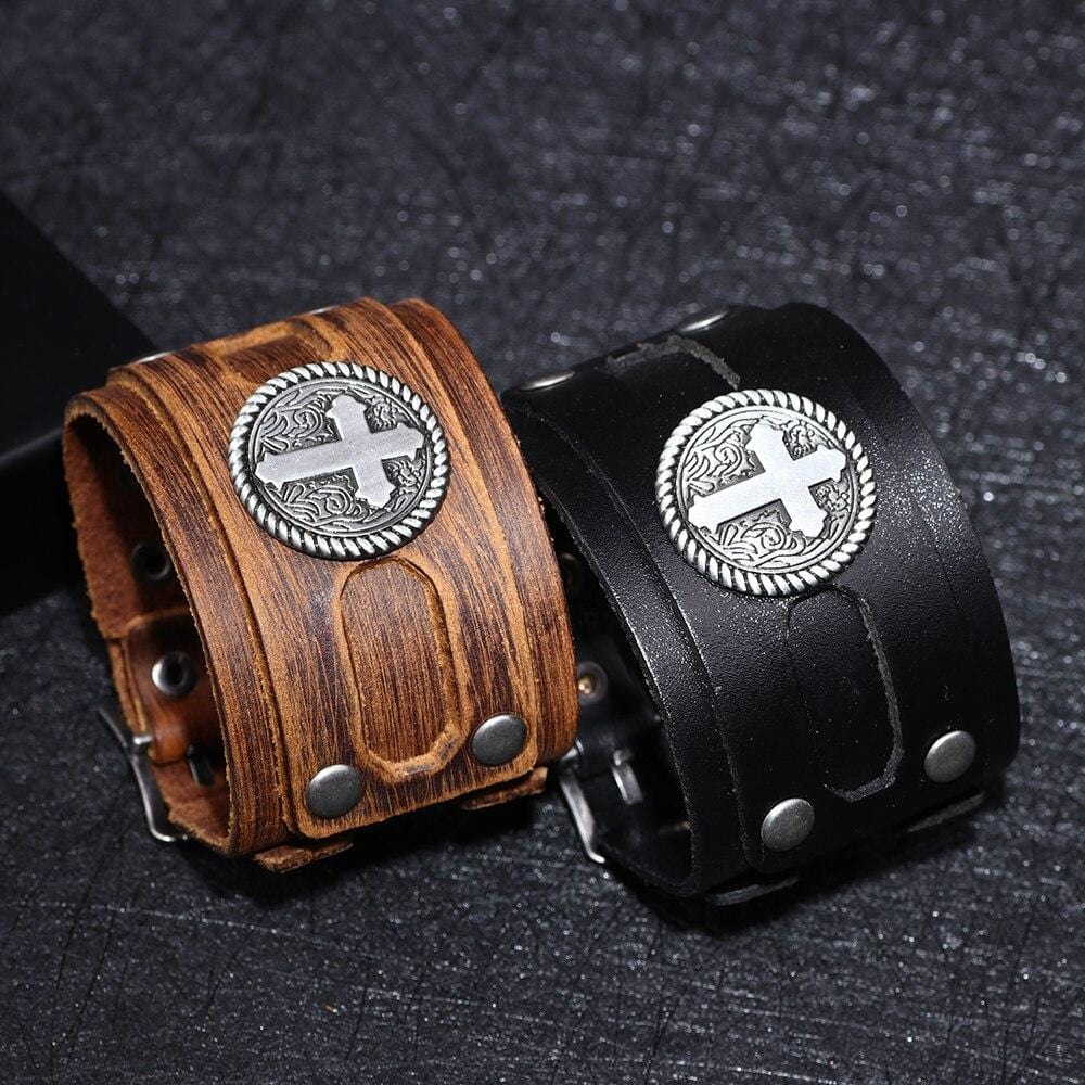 men's wide cross bracelet leather toggle clasp