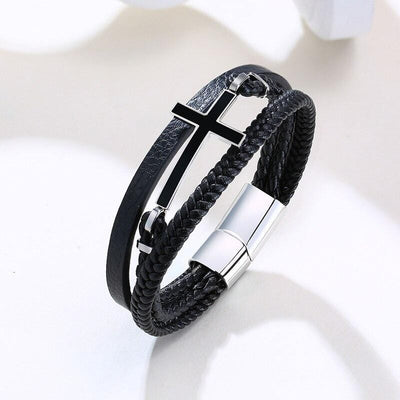 leather cross bracelet for men