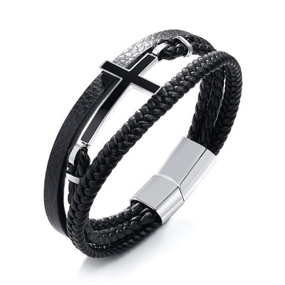 cross bracelet leather band