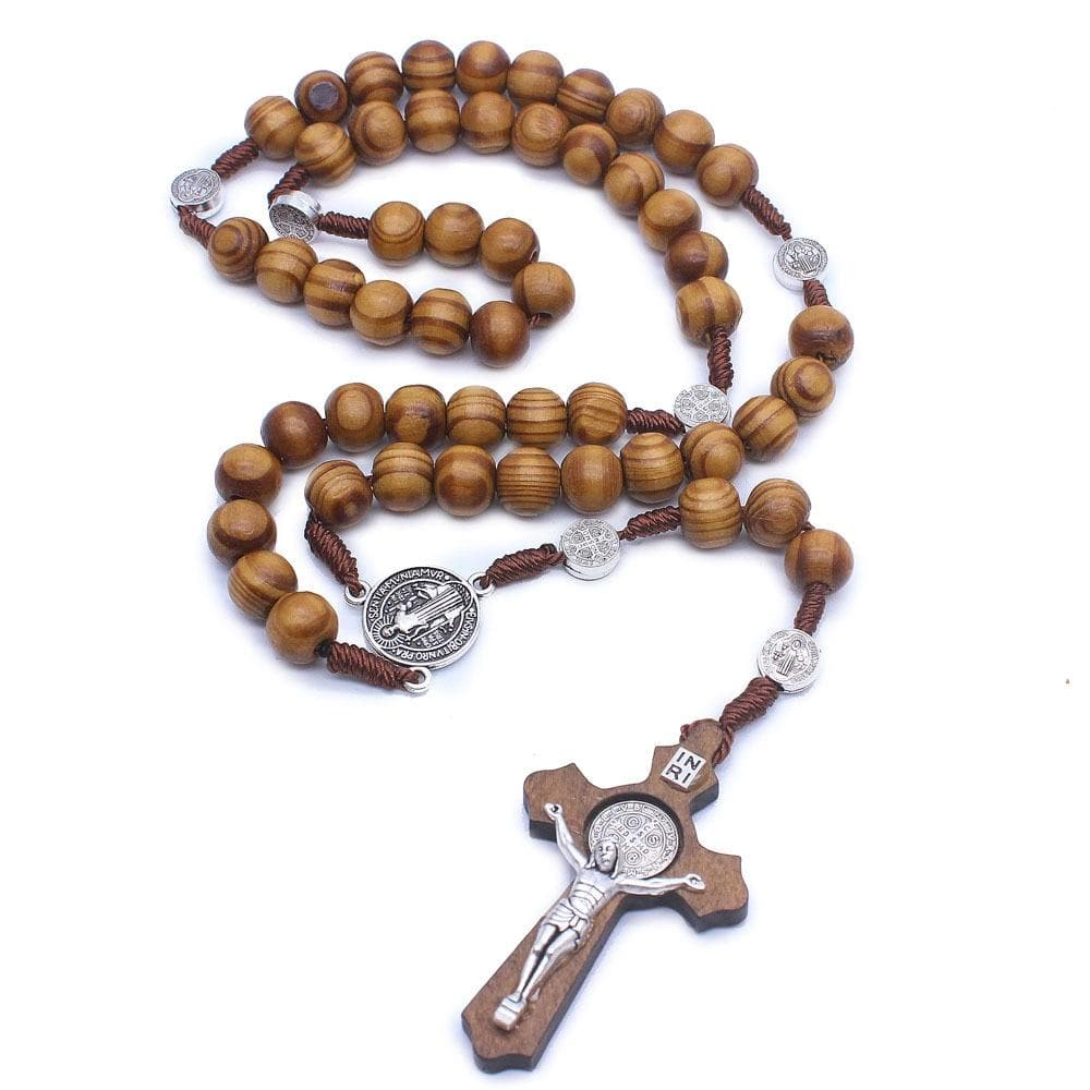crucifix necklace wooden inri