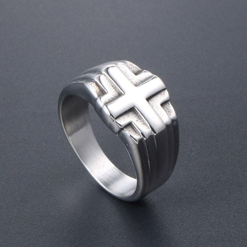 stainless steel christian cross ring