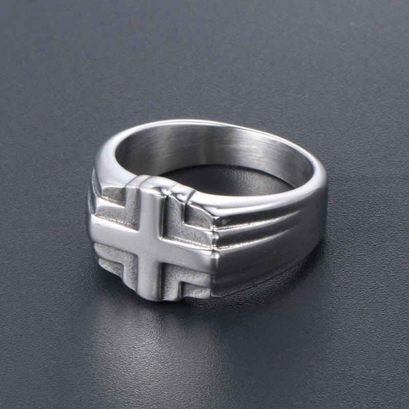 stainless steel christian ring for men